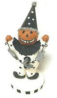 Halloween Pumpkin Clown Holding a String Of Stars And Moon Decoration