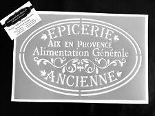 Pochoir Adhésif Réutilisable 30 x 20 cm Affiche Epicerie Ancienne / Made in FR
