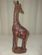 Kenyan Hand Carved Large Wooden Giraffe