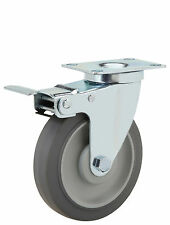 "Total Lock Swivel Plate Caster: TP 2-3/8x3-5/8. Rubber on Poly Wheel: 5"" x1-1/4"""