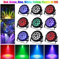 8X 18 LED RGBW Par Can Flat Stage Lights DMX512 DJ Disco Bar Uplighter Lighting