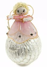 Vintage Japan Pink Angel Silver Net Ball Christmas Ornament Holiday Decoration