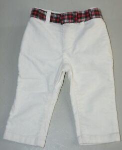 New w Tags Ralph Lauren Child Girls Corduroy White PANTS w Red Green BELT 12 M