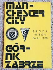1971 GORNIK ZABRZE V MANCHESTER CITY ECWC Q-FINAL  - Rare - Free Home Tie Prog
