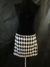 BEBE Womans Black and White Harlequin Sequin Mini Size Small NWT