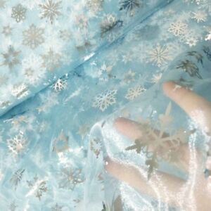 Sheer Organza Fabric Silver Snowflakes Voile Tutu Dress Costume Curtain By Meter