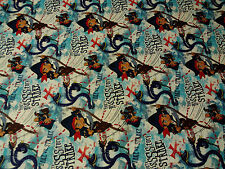 Disney Jake & the Neverland Pirates Danger from Below Cotton Fabric 1/2 Yards