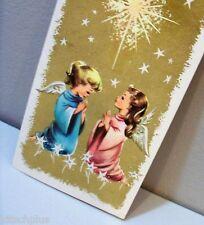 Vtg Christmas Card Blond Ponytail Brunette Angel Girl Child Praying Beneath Star