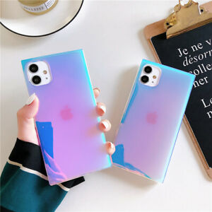 Square Glitter Art Case For iPhone 12 11 Pro Max XS XR 7 8+ Cute Back Cover Cool