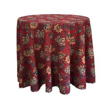 """Anokhi Red Floral Round Tablecloth, 69""""D, 100% Cotton"""
