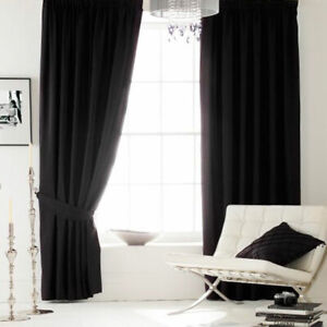 Faux Silk Sheen Eyelet Lined Curtains and Tiebacks Black Ink Catherine Lansfield