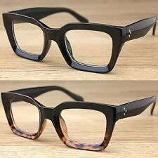 Thick Chunky Curved Frame Clear Lens Fashion Glasses Vintage Retro Womens Mens