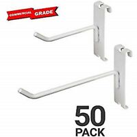 """White Gridwall Hooks for Any Retail Display, Assortment Pk of 50  4"""" & 6"""" 25 ea"""