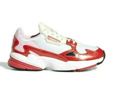 Adidas Women Originals Falcon Shoes Colour Crystal White / Active Red /Shock Red