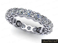 Open Gallery Shared Prong Eternity Band Ring 14k White Gold Natural Diamond 2ctw