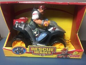 Fisher Price Rescue Heroes Bill Barker & ATV Patrol -Brand New Sealed 2001