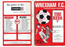 Wrexham v Rijeka of Croatia  programme European Cup Winners Cup 1978