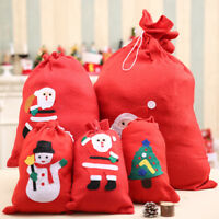 Christmas Santa Claus Snowman Gift Bag Candy Present Drawstring Sack Decor Red