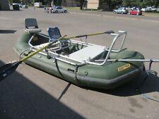 14'x7' Down River Commercial Fishing Raft Boat w/ Aluminum Frame SETUP Oars NICE