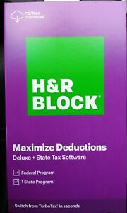 H&R BLOCK Tax Software Deluxe + State 2020  Physical Key Card Free Ship