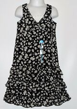 The Childrens Place Girls Sleeveless Tiered Floral Dress Black & White Five (5)