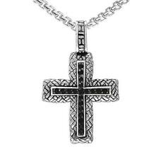 """Cross Necklace with 23"""" chain Philip Andre Sterling Silver Men's Smokey"""