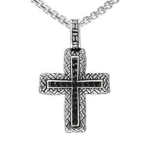 """Philip Andre Sterling Silver Men's Smokey Cross Necklace with 23"""" chain"""
