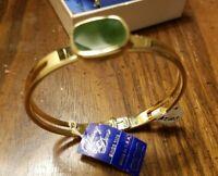 Vintage Whiting & Davis Goldtone Genuine Stone Bracelet Hinged New Old Stock