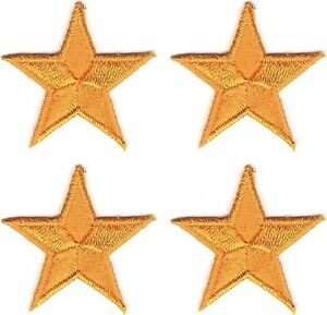 "1 1/8"" x 1 1/4"" inches Lot of 4 Yellow Stars Star Embroidered Patch"