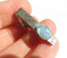 Vintage 1960s 70s Tie Clip Tie Pin Silver Tone Textured and Blue Glass  FREE P&P