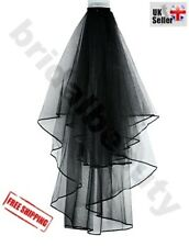Halloween Black Gothic Wedding Veil Fancy Dress Costume Party Horror Bride To Be