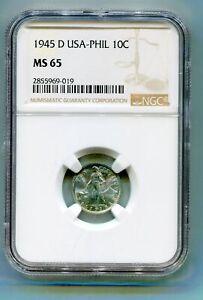 Philippines  10 Centavo 1945-D NGC MS 65  lotmar4018