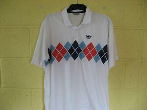 Retro 1980's Adidas Ivan Lendl Argyle Tennis Shirt size 44/46 D54