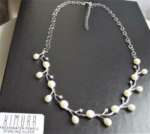 KIMURA FRESHWATER WHITE PEARL & CLEAR CZ STERLING SILVER NECKLACE 41cm +5cm NEW
