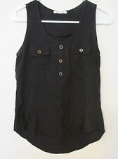 "Women's Ecko Red ""Active"" Solid Black Tank Top Blouse w/Gold Buttons Size Medium"