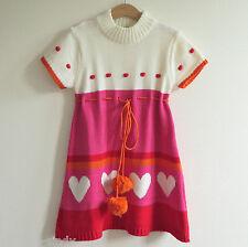 AGATHA RUIZ DE LA PRADA GIRLS PINK, RED & ORANGE DRESS | Size 8 | Hearts Pompoms