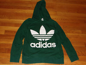 ADIDAS TREFOIL LONG SLEEVE DARK GREEN HOODIE WOMENS SMALL EXCELLENT CONDITION
