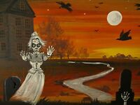 5x7 PRINT OF PAINTING HALLOWEEN RYTA WITCH CROW GHOST MOON GHOUL VINTAGE STYLE