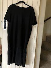 COS OVERSIZED MIDI/ MAXI BLACK T-SHIRT DRESS RUFFLE HEM SILK TRIM SIZE L 14 16