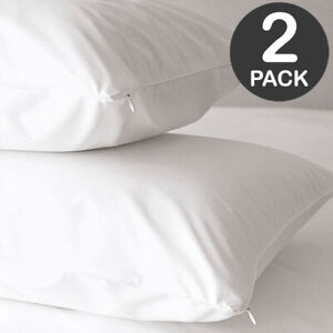 Pair of Zipped Water Resistant Non Allergenic Dust Mite Proof Pillow Protectors