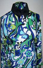 Azul Cobalto Blanco y Verde Floral Espiral Lycra Elástica ity Tejido 0.9m 45.7cm