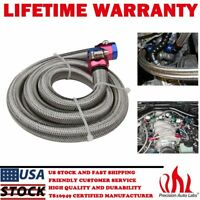 "3/8"" 3ft Universal Braided Stainless Steel Flex Oil Fuel Line Kit Hose w/ Clamps"