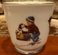 "Gorham Jar w/o Lid Norman Rockwell A Boy and His Dog Plant Pot Candy Bowl 4.5"" T"