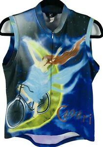 Canari Blue Black Cycling Vest Jacket Coat Zipper Front Womans Large Pattern