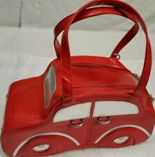 Vtg Mini Cooper Car Handbag/Purse Red Dbl Shoulder Straps British Austin Powers