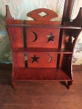 ANTIQUE CABIN LODGE ORNATE 3 TIERED STARS MOON CUTOUTS WOOD WALL HANGING SHELF