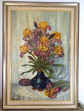 Original Oil Painting Still Life Iris Flowers South African Artist John Dykman