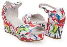 TOMS WHITE PINK CANVAS COLORFUL PAINT ANKLE STRAP WEDGE SANDAL SHOES Sz 8.5 New