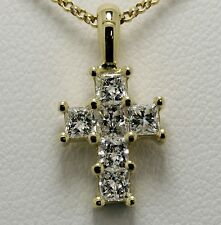 Diamond cross pendant 18ct  princess CUT ladies .60ct Dia Hatton garden made