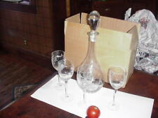 Crystal Clear Etched Grape Cluster & Leaves Wine Glasses 4 Glasses and decanter.